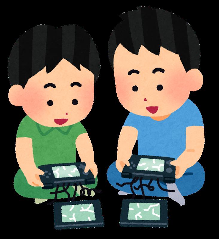 いらすとや壊れた携帯ゲーム機で遊ぶ子供のイラスト
