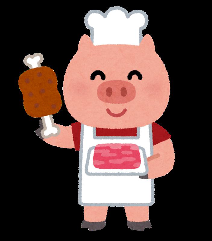 豚の肉屋のイラスト いらすとや