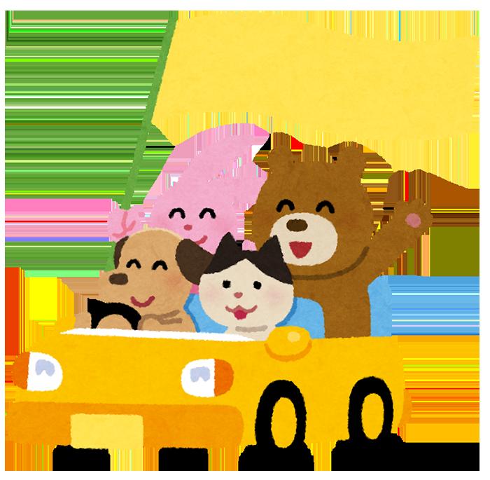 車に乗った動物たちのイラスト(旗つき) いらすとや
