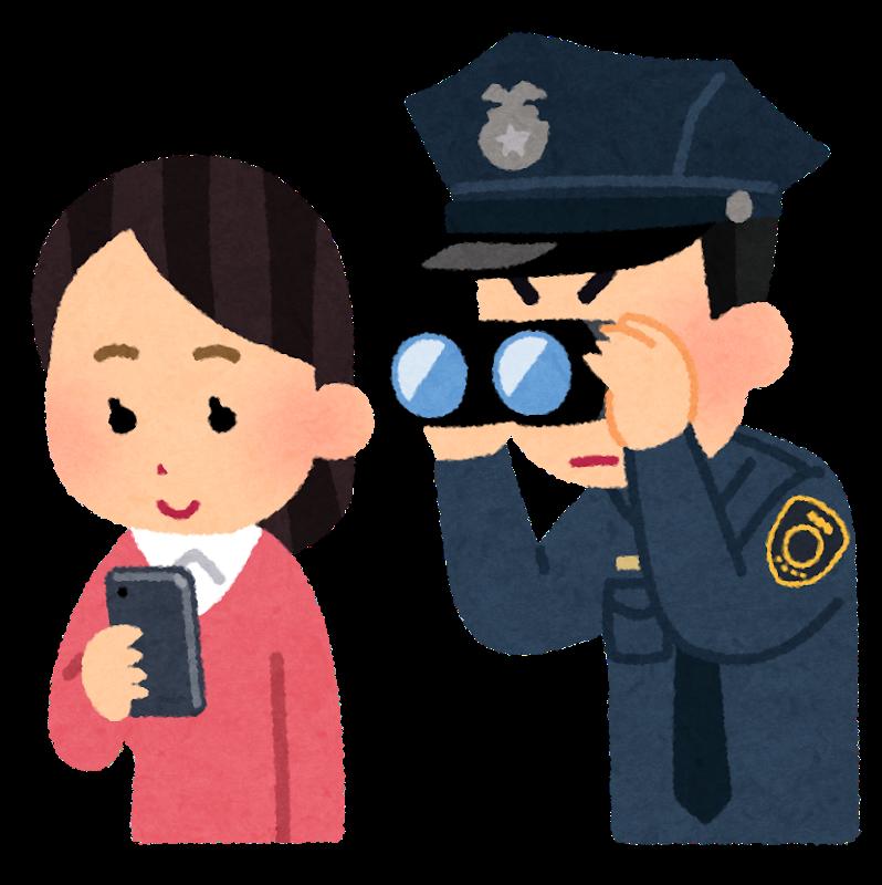 いらすとや 一般市民の携帯電話を覗く警察官のイラスト