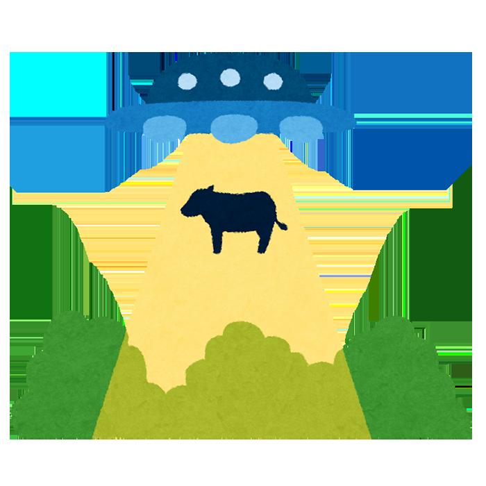 UFOにさらわれる牛のイラスト いらすとや