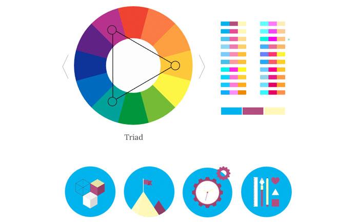 トライアド、3色配色の見本