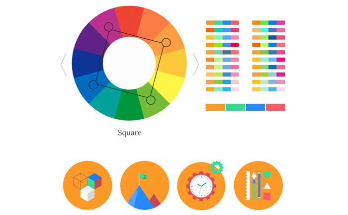 テトラード、4色配色の見本