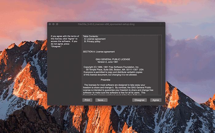 FileZillaのセットアップ画面